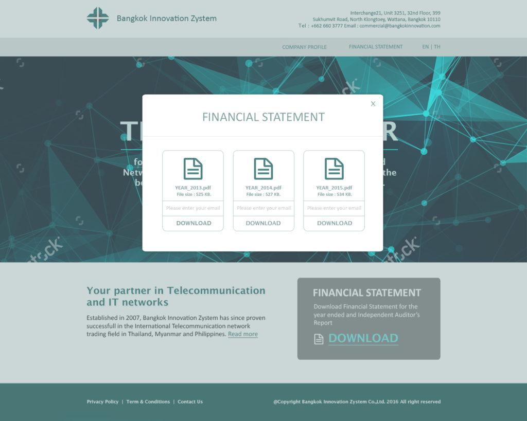 Bangkok Innovation Zystem website by Suzaku Productions